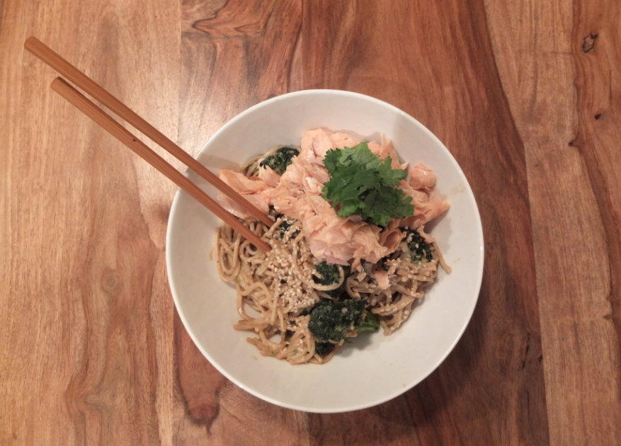 Green tea-poached salmon soba bowl