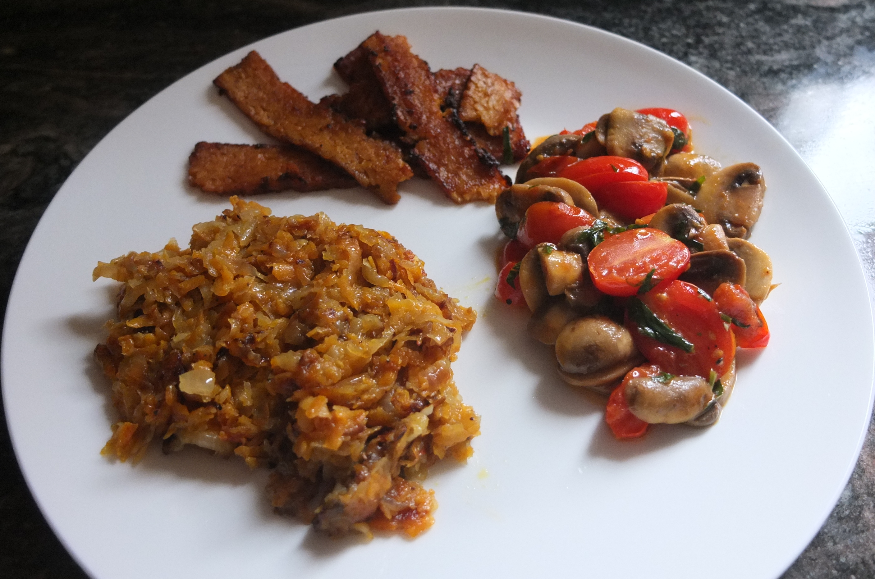 Vegan brunch: sweet potato hash, tempeh bacon,